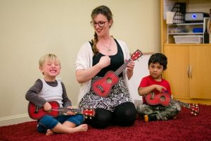 Preschool Music teacher with students